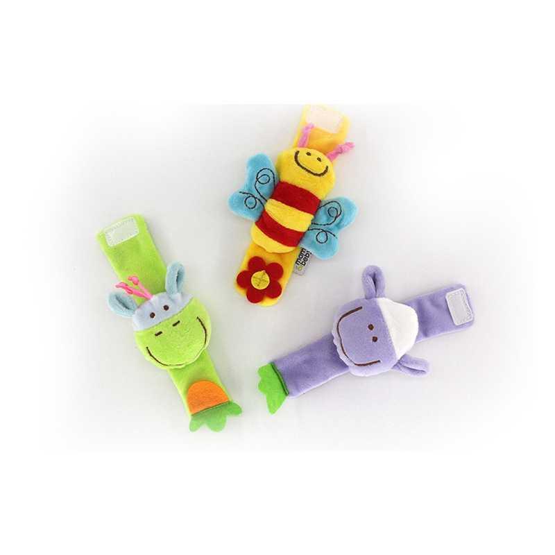 Kawaii brinquedos do bebê de pelúcia pulso chocalho cama carrinho bonito dos desenhos animados animais recém-nascidos brinquedo educativo para crianças berço chocalhos mão 1pcs