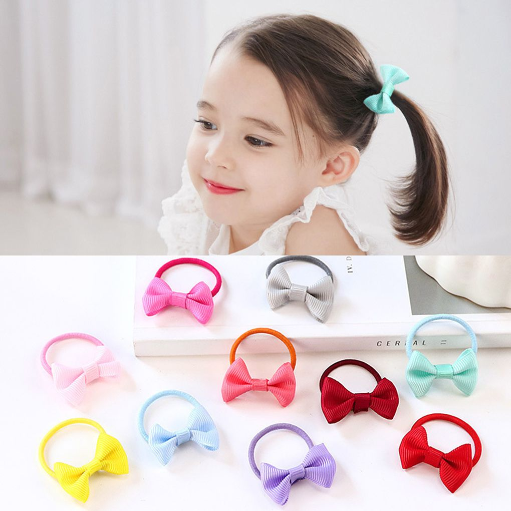 10pcs Bowknot Elastic Hair Rubber Bands Girls Kids Bow Tie Hair Ring Rope Headwear Ornaments