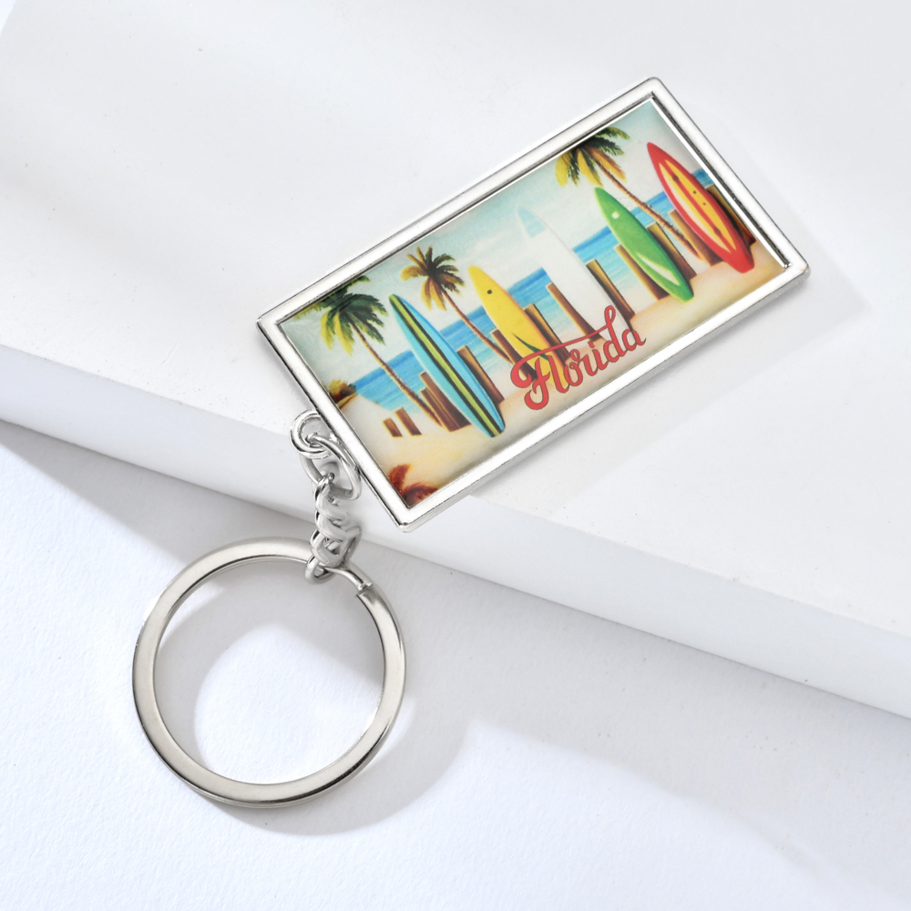 Vicney Fashion Miami Seaside Scenery Keychain Zinc Alloy Florida Water Skateboard Key Chain Gift For Friend Souvenir Keyring