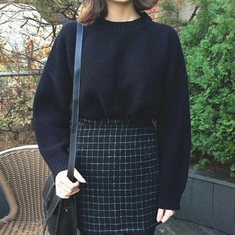 Pulower z okrągłym dekoltem sweter 2019 jesień w stylu Harajuku płaszcz w jednolitym kolorze kobiet rękaw w kształcie skrzydła nietoperza uczeń luźny sweter