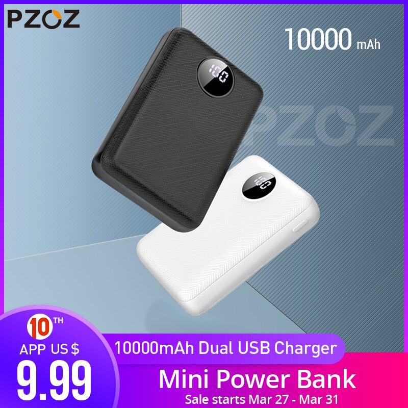 PZOZ Power Bank 10000mAh Dual USB Mobile Phone External Battery Fast Charge For Iphone Xiaomi Mi Portable Charger Mini PowerBank