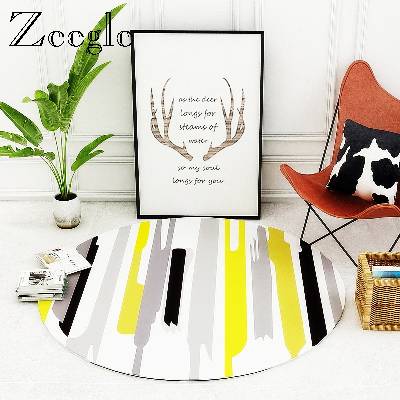 Zeegle Round Rug Carpet For Living Room Home Decoration Soft Foot Carpet Rug Sofa Cushion Floor Mat Office Hotel Home Carpet