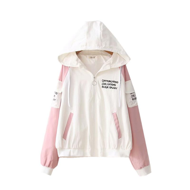 Spring and autumn Hooded Ladies top preppy style letter embroidery Hoodies top Harajuku zipper Female Coat 41