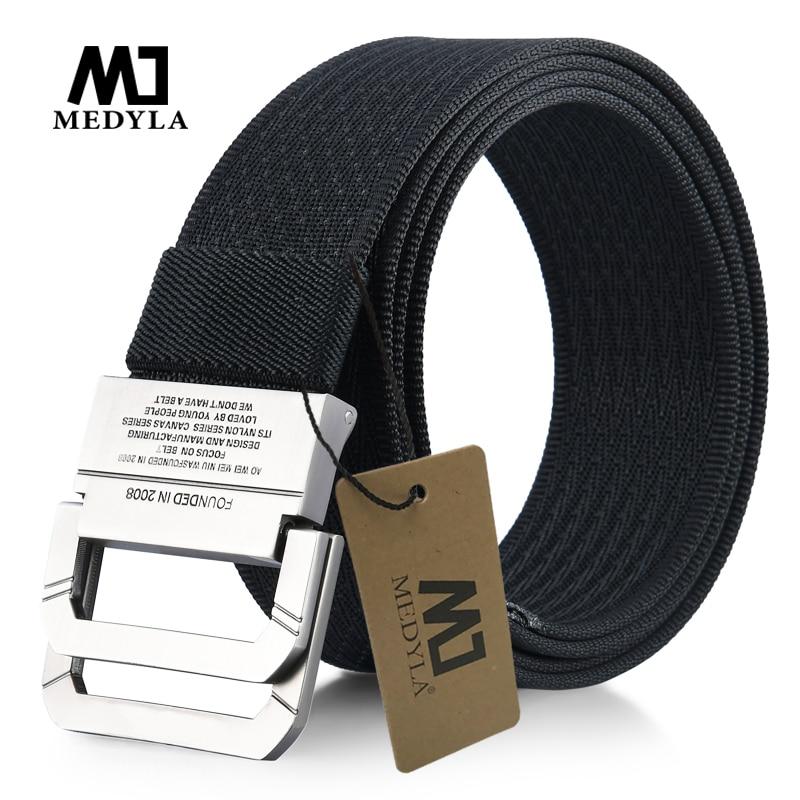 MEDYLA New Striped Adult Men Knitted Men Casual Belts Cintos Femininos Canvas Belt Plus Size Strap Male Tactics Belt Cummerbunds