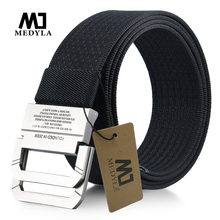 MEDYLA New Striped Adult Men Knitted Men Casual Belts Cintos
