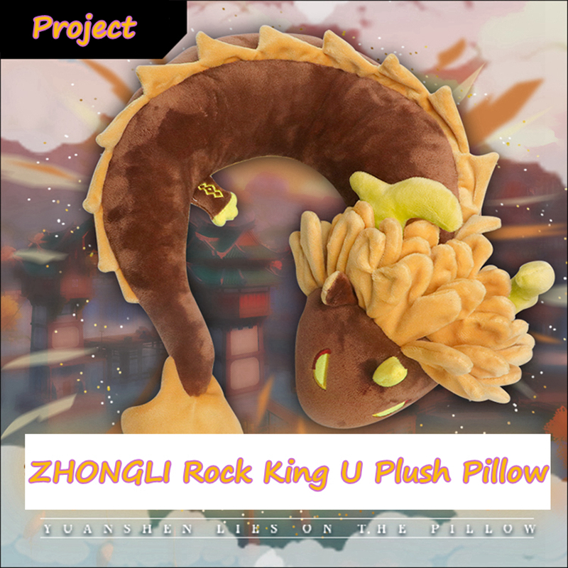 Anime Plush Doll Game Genshin Impact Cosplay Accessories Project Zhongli Rock King Devil Dragon Pillow Hutao Ghost U-Shaped Toys