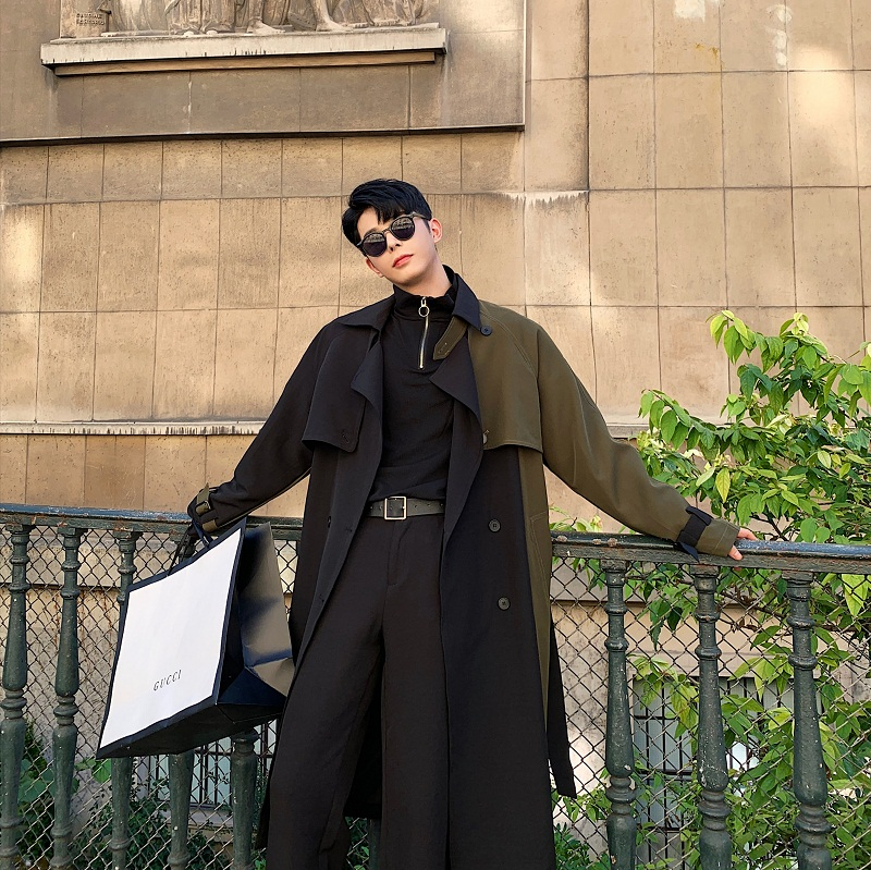 Men Autumn Winter Splice Sashes Loose Casual Chic Long Trench Coat Male Vintage Streetwear Hip Hop Windbreaker Overcoat Jacket