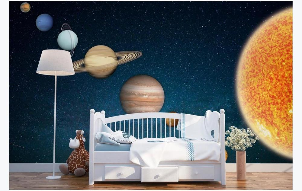Fashion Photo Custom Universe Galaxy Earth 3D Theme Space Mural Wallpaper Children s Room Bedroom Background