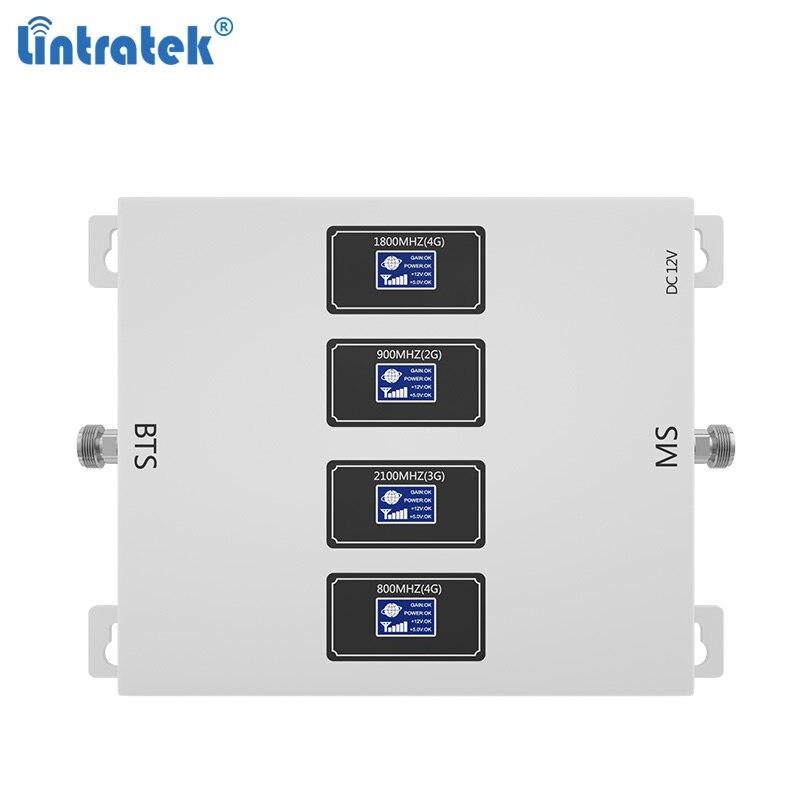 Lintratek 2020 Новый усилитель сигнала 800 900 1800 2100 МГц GSM 2G 3g 4G LTE усилитель четыре диапазона AGC репитер голосовой сети