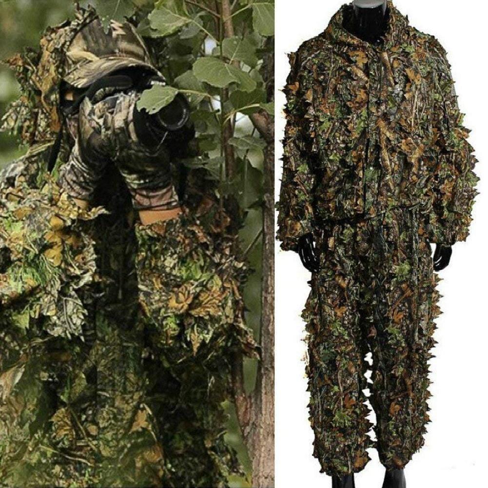 Охота Одежда Новый узор в виде кленового листа 3D бионические маскировочные костюмы Снайпер Birdwatch страйкбол камуфляжная куртка одежды и брюк|Маскировочный костюм для охоты|   | АлиЭкспресс