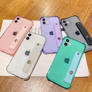 Image 3 - Soft Wrist Strap Phone Case For iPhone 11 12 Pro Max X XR Xs Max 7 8 Plus SE 2020 Mini Kickstand Transparent Bumper Back Cover