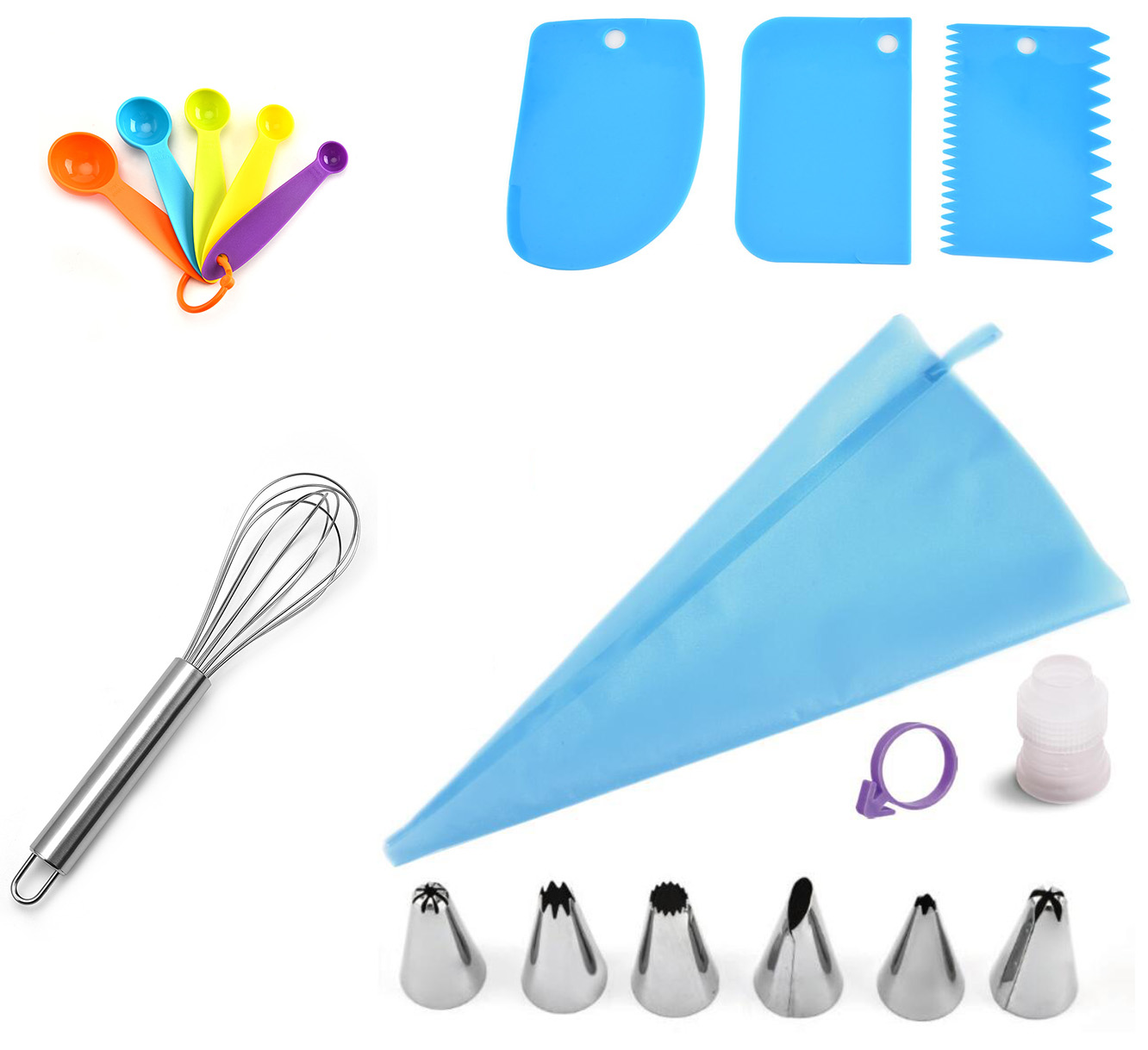 17 or 18 PCS Cake Tools Sets - Two Combinations of Cake Decorating Tools with 3 or 4 Functions Ideal for Cake Making Beginners