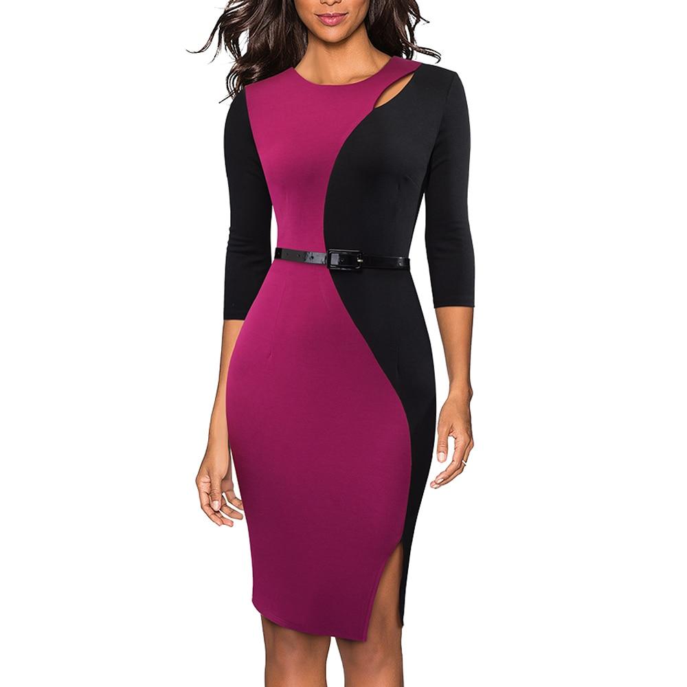 Contrast Patchwork Keyhole Sash Work Office Lady Dress Fashion Round Neck Split Skinny Business Dress EB478