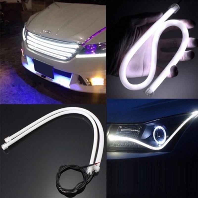 1x45 cm esnek beyaz araba yumuşak tüp LED şerit ışık DRL gündüz farı