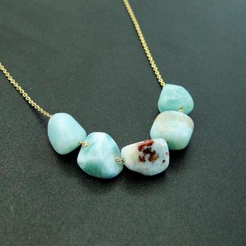 Hot Selling High Quality 925 Sterling Silver Natural Larimar Beads Pendant Women Pendant Necklace For Gift