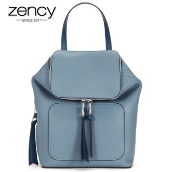 Zency 100% Genuine Leather Fashion Women Backpack Daily Casual Travel Bag Preppy Style Girl's Schoolbag Large Capacity Knapsack