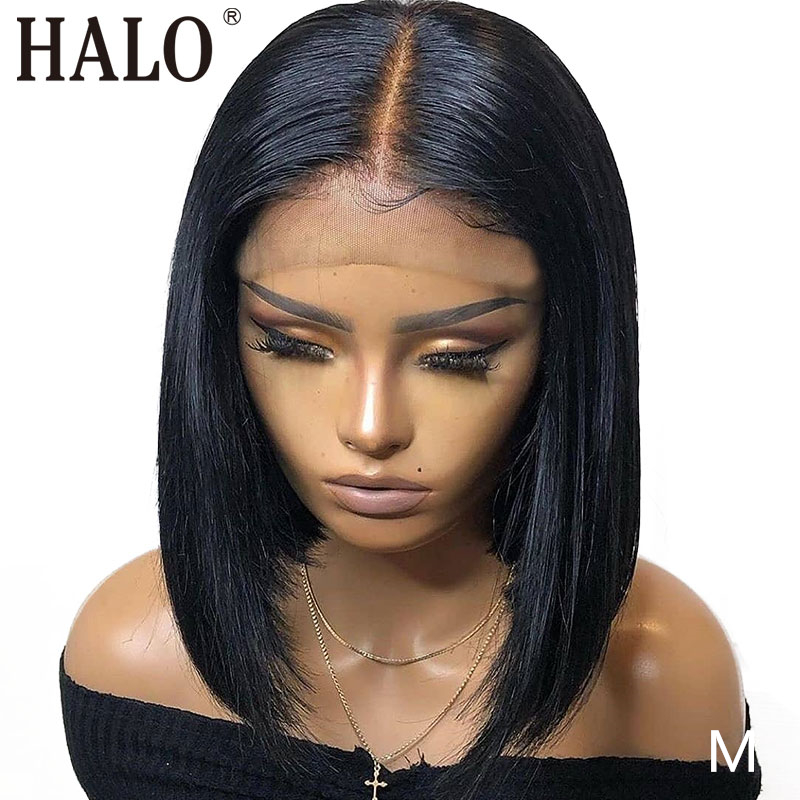 HALO Short Bob Lace Frontal Natural Wig 13x4 Lace Front Human Hair Wigs Brazilian Straight Pre Plucked Baby Hair 150Density Remy