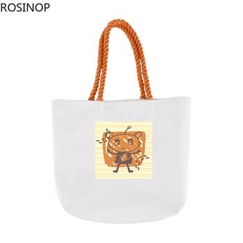 Rosinop foldable shopping bag cute canvas tote bag designer tote cartoon bear rabbit print utility tote canvas ethnic print tote bag