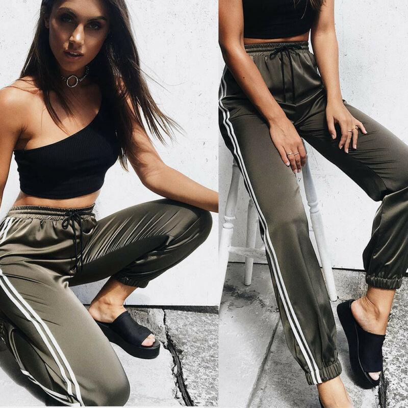 Hot Women Casual Harem Pants Loose Trousers For Women Black Spring Sweatpants Striped Side Sweat Pants Female Plus Size M-XL