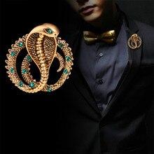 Nuevo Original personalidad británico Retro de Metal pines Cobra serpiente broche joyería de lujo Pin para solapa con insignia bisutería para hombres Accesorios