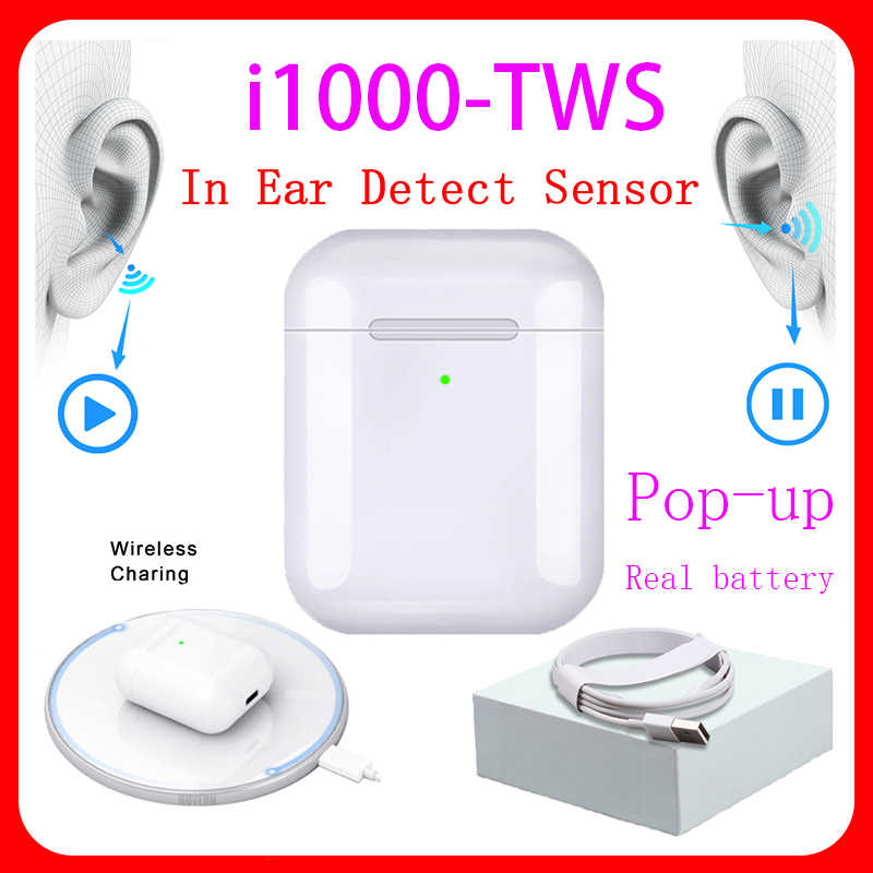 I1000 Bluetooth TWS Original A2 Generations 1:1 tamaño auriculares inalámbricos 5,0 Bluetooth auriculares compatibles con HUAWEI PHO