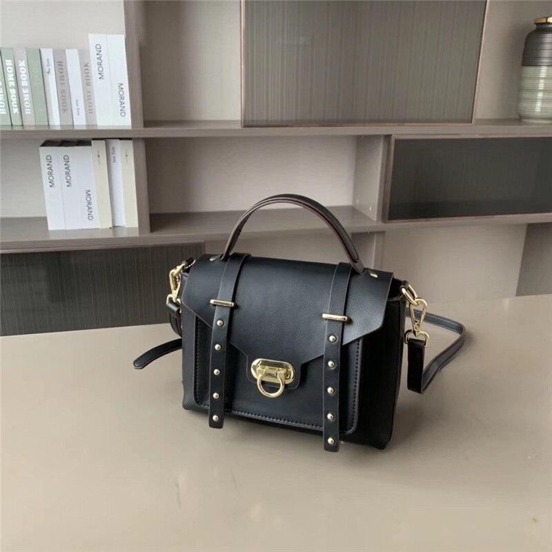New Fashion Women's Handbag Genuine Leather Shoulder Crossbody Bag Fashion Trend Design Cover Rivet