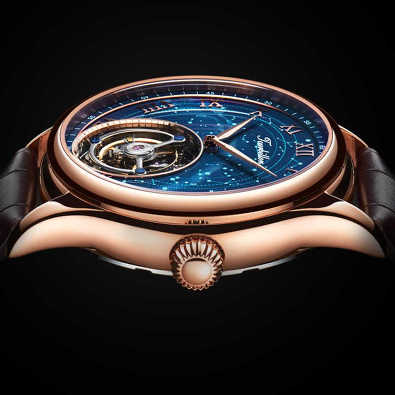 GUANQIN 100% настоящий оригинальный турбийон часы лучший бренд роскошный скелет Созвездие водонепроницаемый сапфир Relogio Masculino