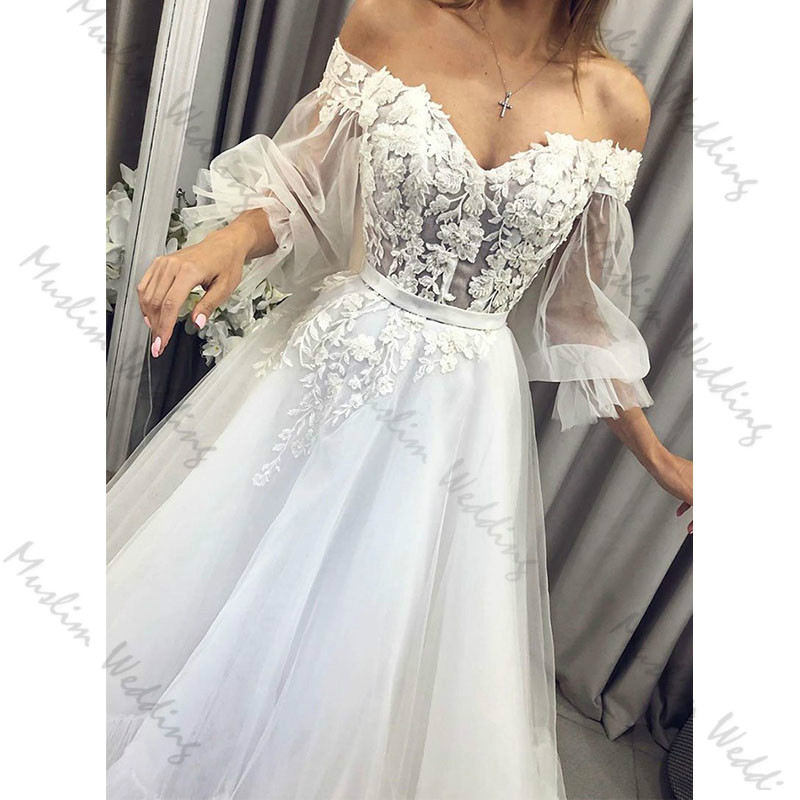 Fairy Puff Sleeve Bohemian Wedding Dress 2020 Illusion Lace Boho Wedding Dresses A Line Full Length Tulle Civil Bridal Gowns