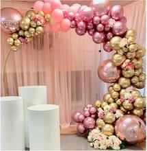 134 sztuk chromowane złoto róża pastelowe dziecko różowe balony Garland Arch zestaw 4D Rose balon na urodziny ślub Baby Shower Party Decor