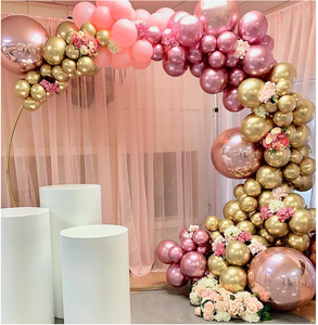 Image 1 - 134pcs Chrome Gold Rose Pastel Baby Pink Balloons Garland Arch Kit 4D Rose Balloon For Birthday Wedding Baby Shower Party Decor