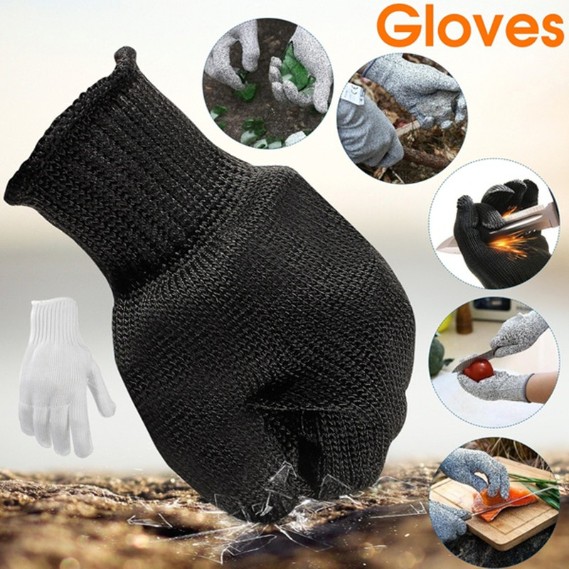1 Pair Soft Stainless Steel Wire Cut Resistant Anti-Cutting Anti-static Gloves Safety Protective Metal Mesh Gloves