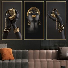 African Woman Art Paintings On the Wall Art Posters And Prints Black Hands Holding Golden Jewellery Canvas Pictures Home Decor