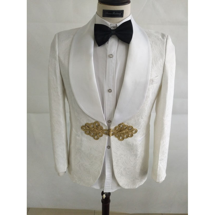 ANNIEBRITNEY White Jacquard Men Suit 2 Piece Custom Slim Fit Tuxedo Groom Suit Wedding Prom Blazer With Gold Chinese Knot Buckle