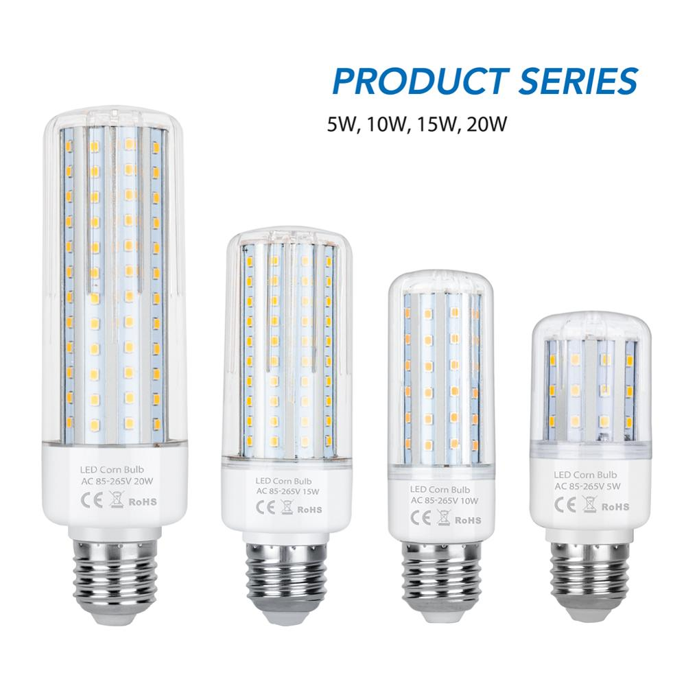 20W E27 Led Corn Light Led Lamp E14 Energy Saving Home Lighting 220V Lampada Led E27 Chandelier Light Bulb 2835 SMD 110V Ampoule