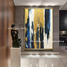 Pop art Hand painted High Quality Modern Gold Blue Abstract Oil Painting on Canvas for Living Room Decor