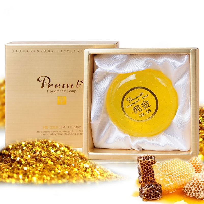 24K Gold Leaf Soap Gift Box Oil-control Moisturizing Anti-mites Anti-acne Multi-effect Handmade Cleansing Soap Good