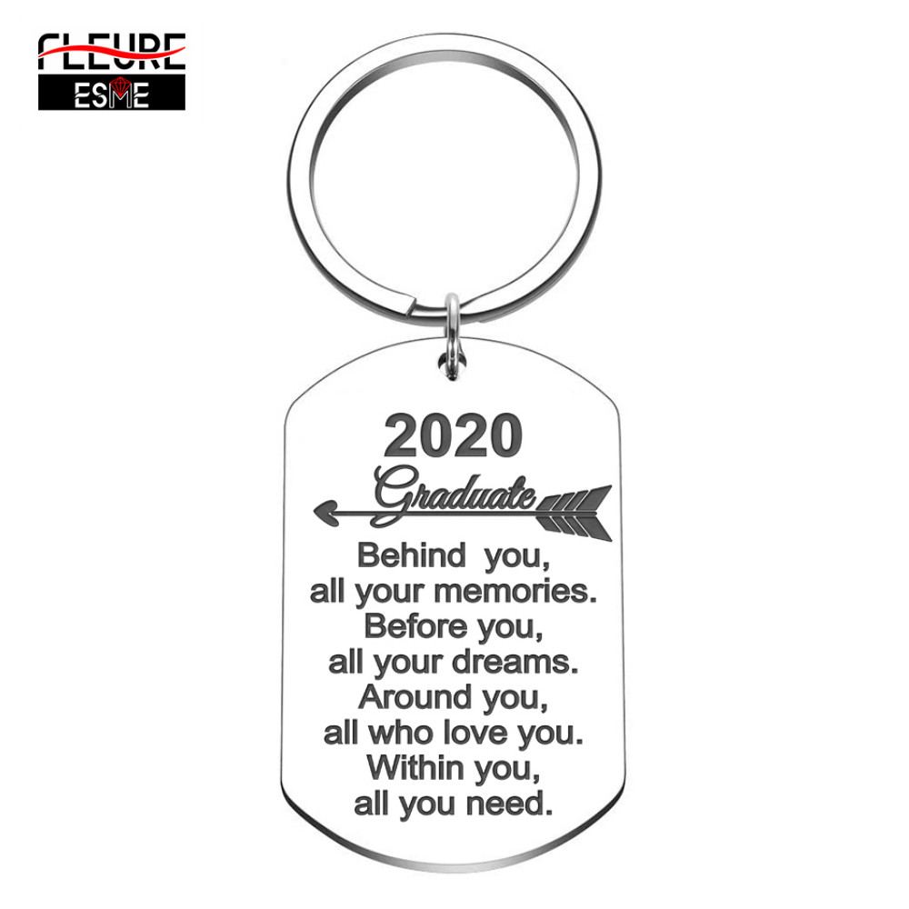 2020 Keychain Graduation Gifts For Him Her Inspirational Keyring Gifts For Women Men Girl Boy Daughter Son Graduate From Dad Mom