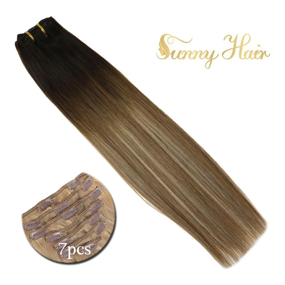 VeSunny Double Weft Clip In Hair Extensions Human Hair 7pcs 120gr Clip On Extensions Balayage Ombre Brown Mix Blonde #2/6/18