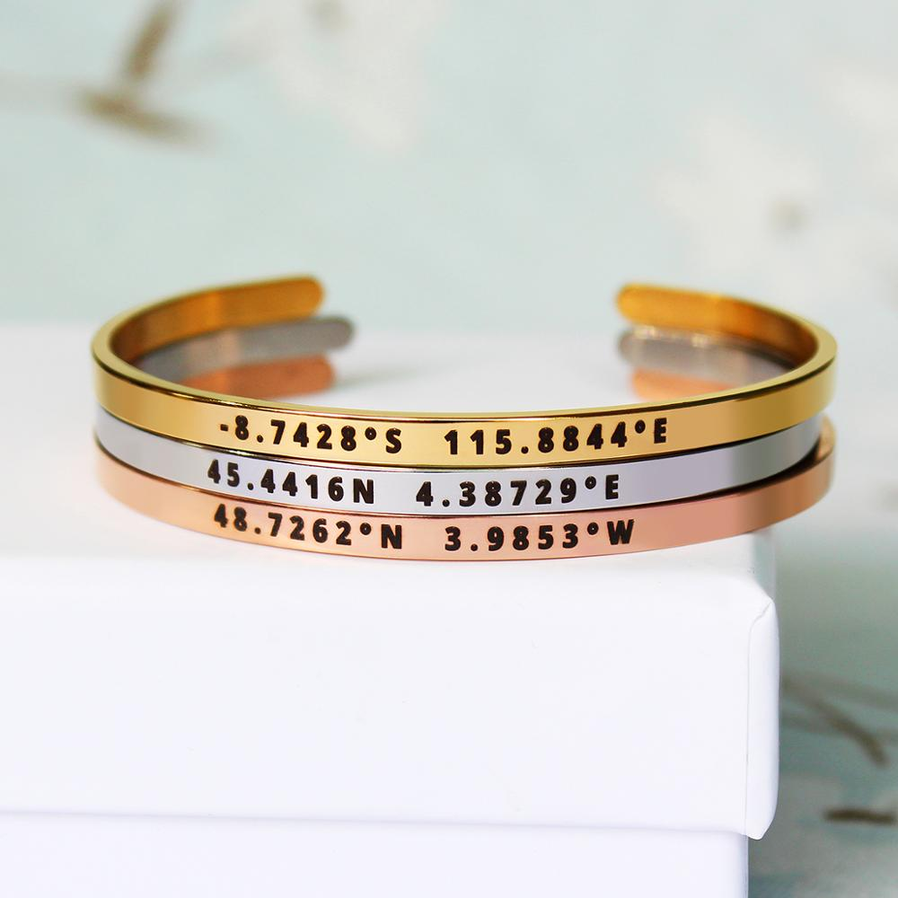 4mm Width Stainless Steel Custom Personalized Coordinate Bangles Laser Engrave Adjustable Open Cuff Travel Bracelet Gift SL-161