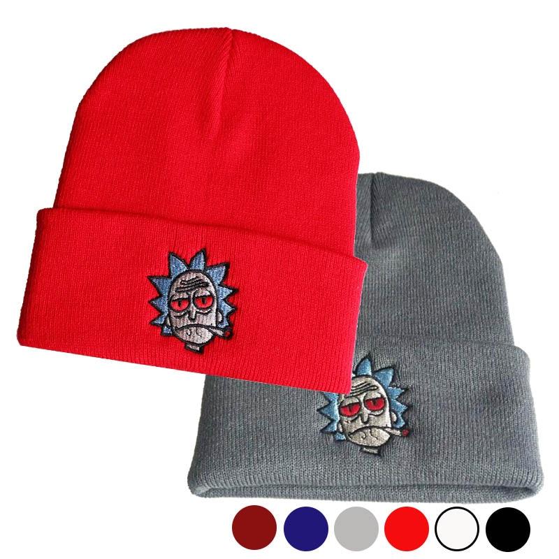 Теплая мягкая вязаная шапка с вышивкой в стиле хип-хоп с рисунком Рик бини унисекс