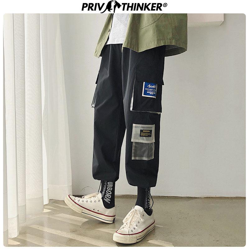 Privathinker Men Japanese Streetwear Sweatpants Joggers 2019 Overalls Men Hip Hop Cargo Pants Pockets Designer Track Pants 2XL