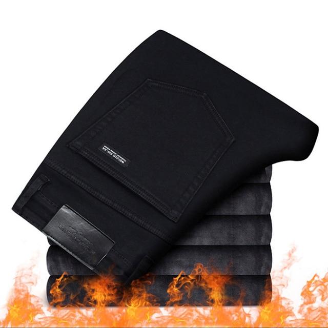 2019 Men Fashion Winter Jeans Men Black Slim Fit Stretch Thick Velvet Pants Warm Jeans Casual Fleece Trousers Male Plus Size 6