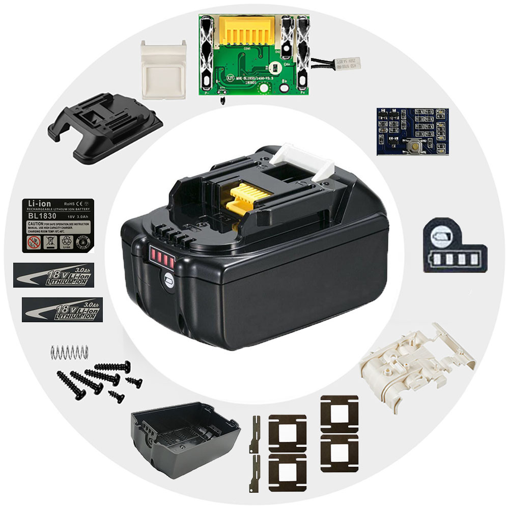 BL1830 배터리 플라스틱 케이스 PCB 충전 보호 보드 상자 레이블 MAKITA 18V BL1850 3Ah 5Ah LED 리튬 이온 배터리 표시기