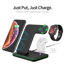 3 In 1 Wireless Charging Stand Voor Apple Horloge 6 5 4 3 Voor Iphone 12 Pro 11 X Xs xr Airpods Pro 15W Qi Fast Charger Dock Station