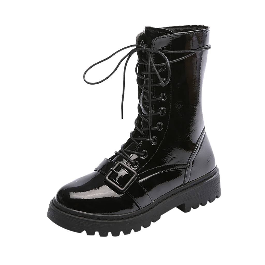SAGACE Winter Women's Lace Up Buckle Causal Cool Platforms Heels Mid Shaft Shiny Boots Flock Winter Warm Motorcycle Boots Oct 16