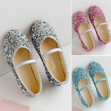 Children's Fashion Shoes For Girls Kids Doll Children Dress With Rhinestone Crystal Flats Pearls Princess Wedding Party
