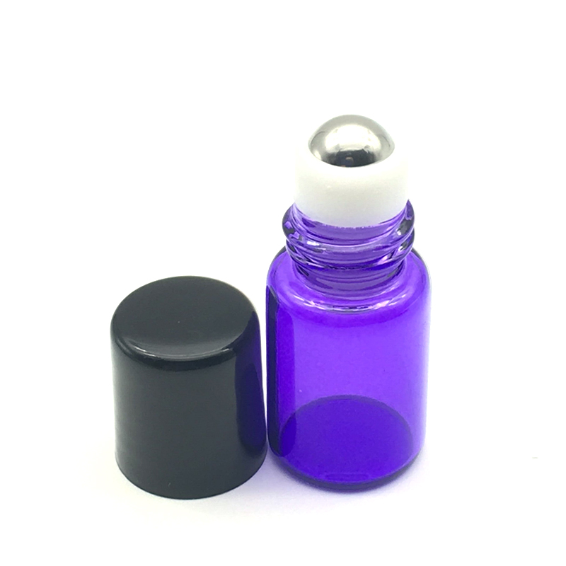 1pcs Hot Roll Purple-blue Glass Bottle With Stainless Steel Roller Small Essential Oil Roll-on Refillable 2ml Sample Bottle