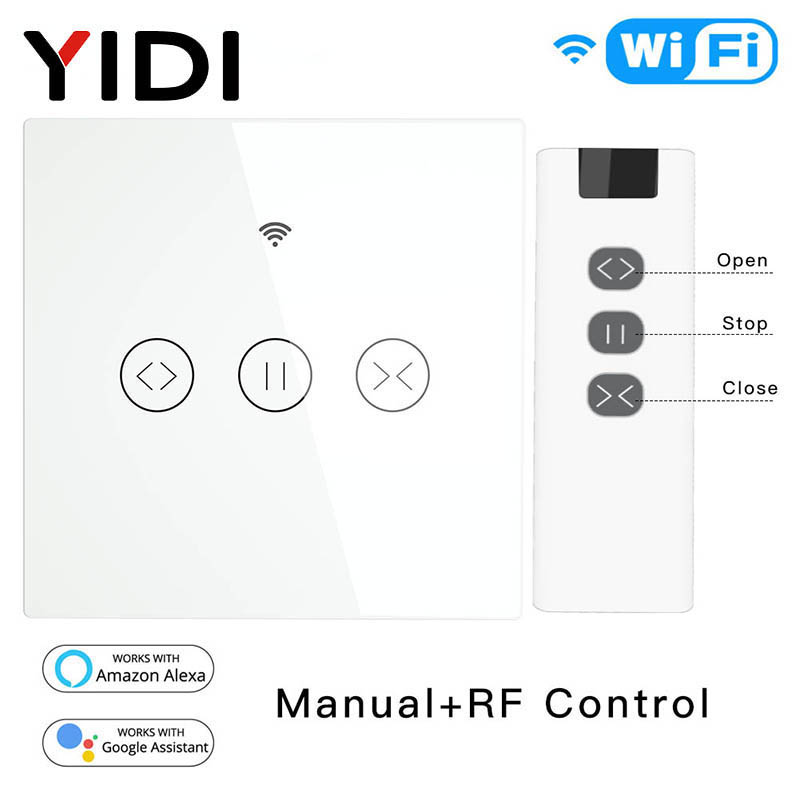 RF WiFi Smart Touch Curtain Blinds Roller Shutter Switch Work With Alexa Echo Google Home Tuya Smart Life App Remote Control