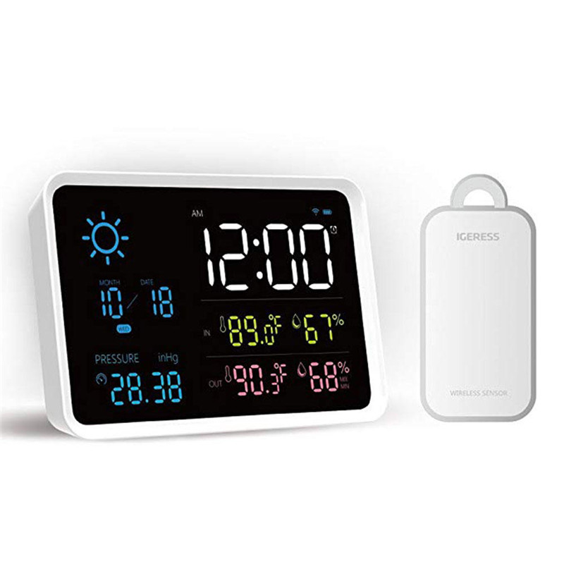 YUIHome Digital Weather Station Temperature And Humidity Display Atmospheric Pressure Weather Forecast Alarm Clock