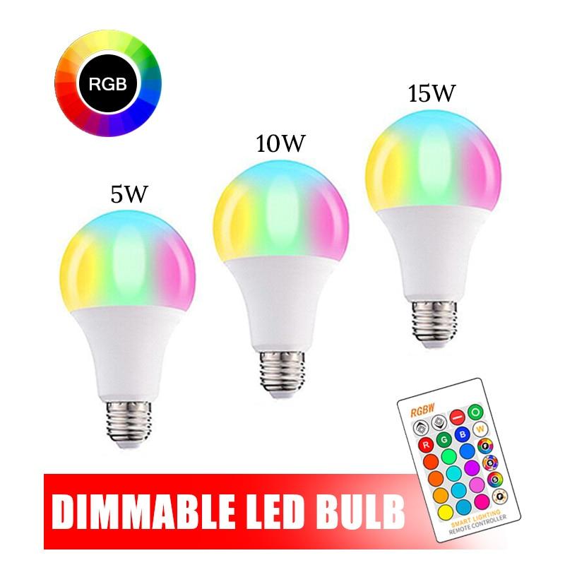 110V 220V E27 RGB LED Bombilla luces 5W 10W 15W RGB lámpara LED cambiable colorida RGBW con Control remoto IR + Modo de memoria Lámpara LED de noche con Sensor de movimiento PIR, lámpara LED de noche, lámpara de techo para sala de estar